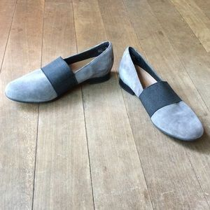 Clarks grey suede slip-on loafers